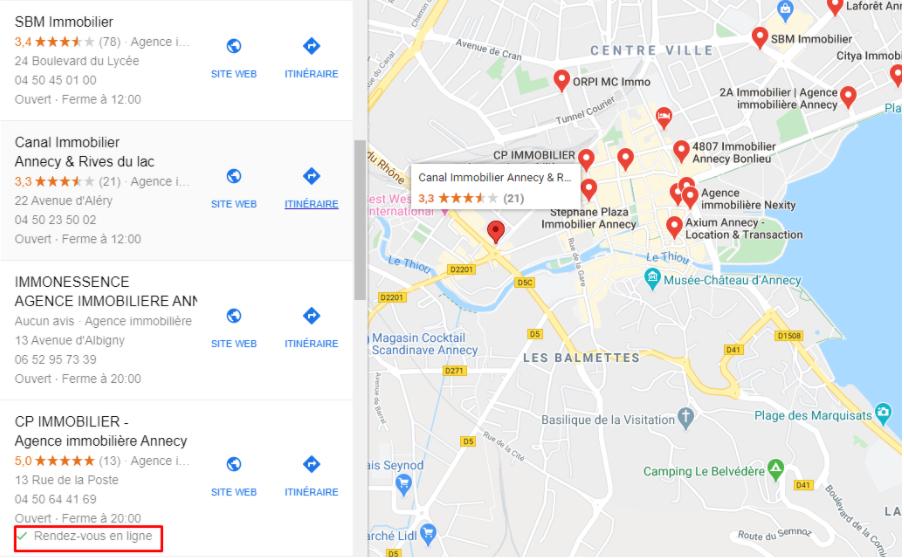 rendez-vous en ligne sur Google Maps